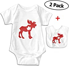 Leopoldson Canada Day Moose Maple Leaf Baby Bodysuits Short Sleeve Infant Onesies with Baby Bib