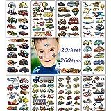 254 tatuajes para niños, tatuajes para niños / niñas / niños conjunto,tatuajes temporales, tatuajes para niños (tractor,Camión de bomberos, excavadora, avión)