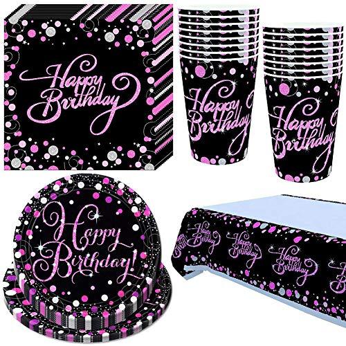 BAIBEI sirve a 16 invitados, decoración rosa, para niños, vajilla desechable para fiestas, cumpleaños, vajilla de lujo para fiestas, bodas, decoración de mesa, elección de coleccionistas