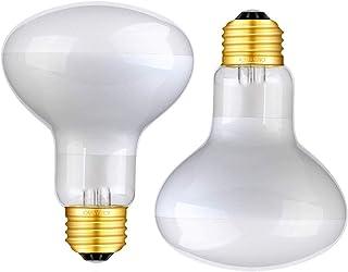 OMAYKEY 75W 2-Pack Basking Spot Heat Lamp Bulb Soft White Glow UVA Glass Cover Heat Lamp/Bulb/Light for Lizard Bearded Dra...