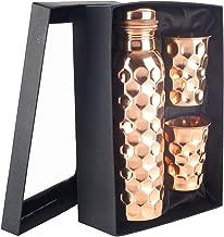 100% Pure Solid 34 Oz Copper Bottle with Two Copper Glasses Set (Diamond)