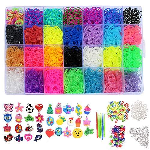 Demeu 11.860 Regenbogen-Gummib/änder Twist Loom Set: 11.000 Gummib/änder Kits 42 Farben 85 zum Herstellen von Armb/ändern f/ür Kinder 210 Perlen und mehr 3 Rucksackhaken 46 Charms 500 Clips