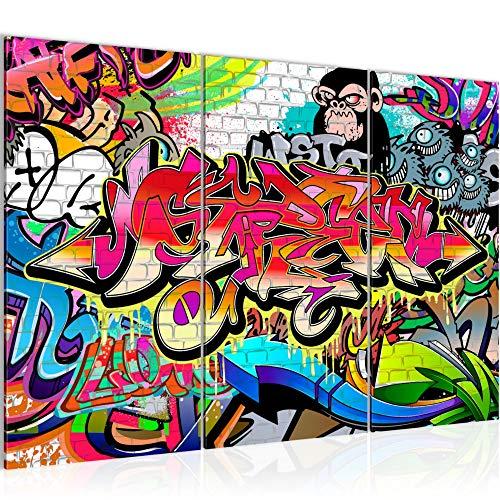 Runa Art Graffiti Bild Wandbilder Wohnzimmer XXL Bunt Street Art 120 x 80 cm 3 Teilig Wanddeko 401731a