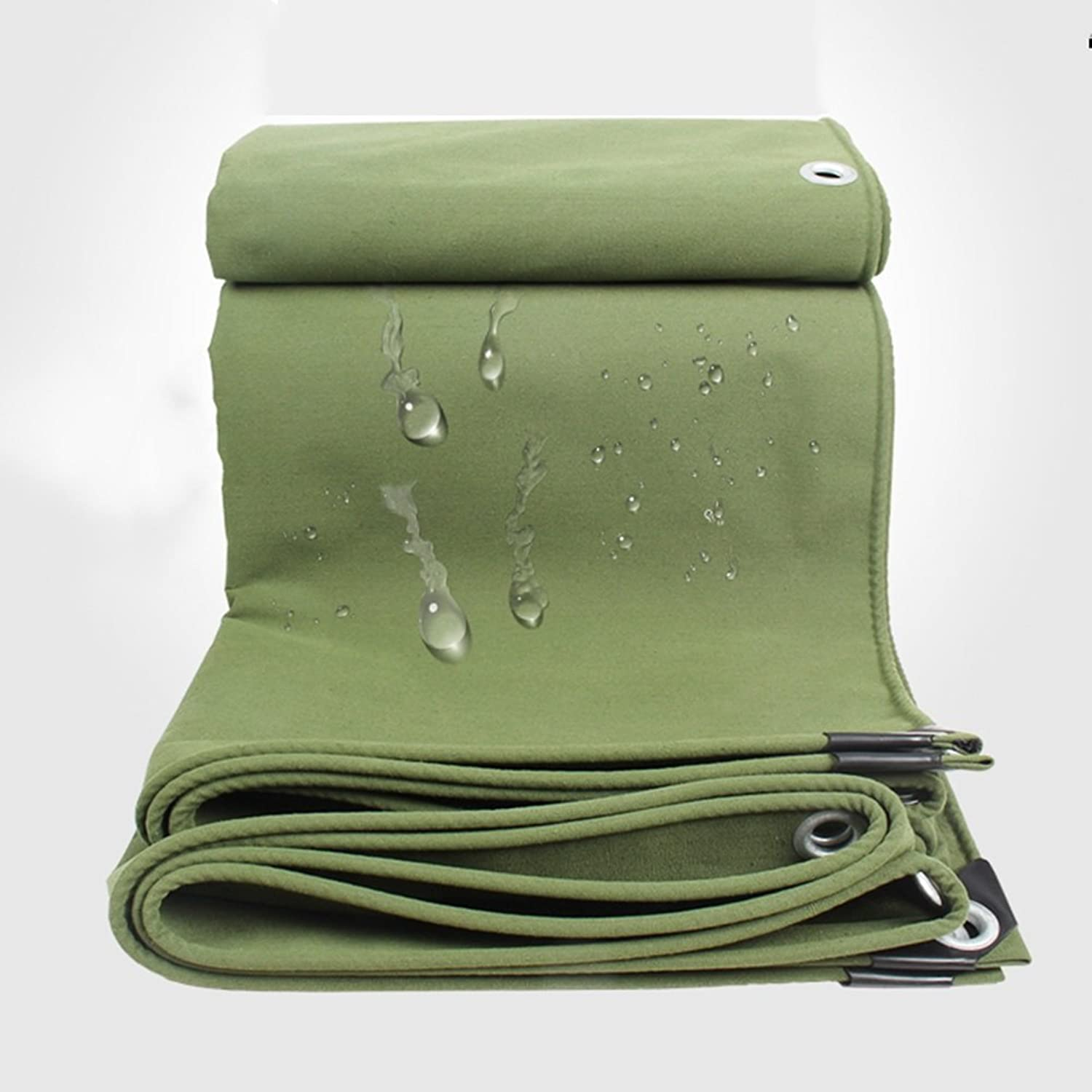 ZEMIN Tarpaulin Waterproof Sunscreen Tent Sheet Windproof Roof Predection Insulation Polyester, Green, 650G M2, 12 Sizes