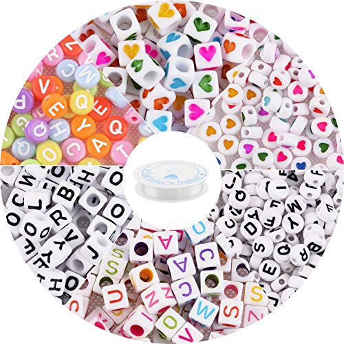 Ciseng 800pcs Letter Beads 6mm Round 26 Alphabet Beads Mixed Letter & Heart Beads for Bracelet with Elastic Crystal String Cord for Jewelry Making