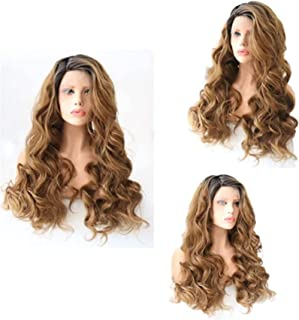 YYCHER Beautiful Wigs, Front Lace Wig Headband Blue Highlights Black Medium Length Long Curly Hair for Cosplay Party Daily...
