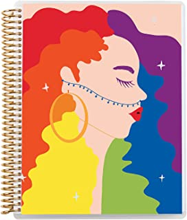 """7"""" x 9"""" College Ruled Spiral Coiled Notebook. Featuring Star Girl (Rainbow) Original Artwork by Shanee Benjamin with Gold ..."""