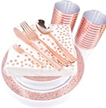 OUGOLD Rose Gold dinnerware and silverware set Lace Design Dinner Plates Salad Plates Forks Knives Spoons Paper dot Napkins Plastic Cups Bonus Mini Forks 225 Piece