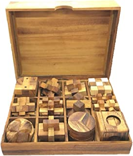 RATREE SHOP Handmade Puzzle Sets - Twelve Brain Teasers with The Puzzle Showcase, 12 Wooden Game Gift Set Handmade Wooden Puzzles for Adults