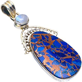 Natural Copper Turquoise and Rainbow Moonstone Handmade Unique 925 Sterling Silver Pendant 2