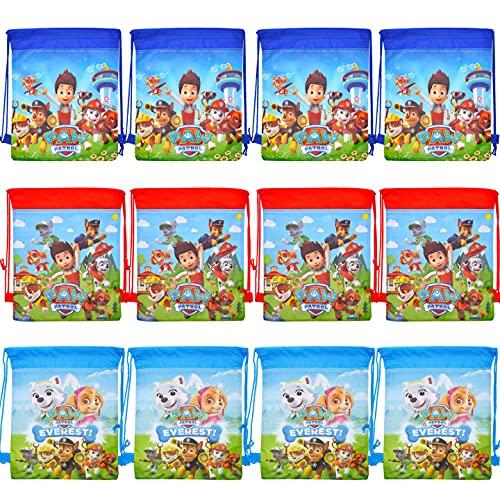 Mitgebsel Kindergeburtstag Paw Patrol Turnbeutel Gastgeschenke Beutel 12 Stück Geschenktüte für Jungen Mädchen, Mitbringsel Geschenktaschen Geburtstagsfeier Partytüten