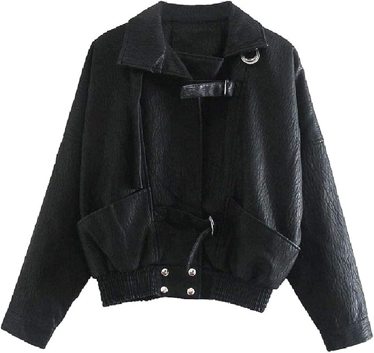 Women's Top Coat Slim Retro Short Baggy Biker Pu Leather Jacket