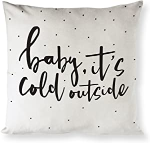 The Cotton & Canvas Co. Baby Its Cold Outside Christmas, Holiday Home Decor Pillow Cover, Pillowcase, Cushion Cover and Decorative Throw Pillow Case (Natural Color, Not White)