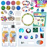 HeyKiddo Resin Kit for Beginners with Silicone Molds - Resin Jewelry Making Kit with Tons of Resin Art Craft Supplies, Resin Starter Kits for Casting Keychain Earring Bracelet, Resin Included