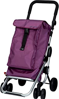 PlayMarket GO UP Folding Shopping Cart with Swivel Wheels, Plum