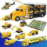 lenbest Camión de Juguete para Niños, Camión Transportador de Aleación, Total de 11 Camión de Juguete, con Un Mapa de Juego y Un Dado, Regalos de Cumpleaños y Fiesta para Niños