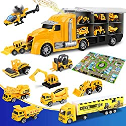 【10-in-1 Construction Vehicles Set】Realize the dream of a child's engineer: helicopter*1, crane*1, excavator*1, bulldozer*1, concrete mixer truck*1, road roller*1, dump truck*1, sand forklift*1, container truck*1 , Nine construction vehicles with dif...