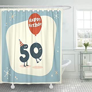 AllenPrint Cortinas De Baño,Happy Cartoon Vintage Funny 50Th Birthday 1960 Love 1950 Cortinas De Baño Cortinas De Baño Personalizadas 183x183cm