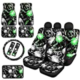 JEOCODY Skull Print Car Seat Covers Set 2 Front Driver and 2 Bench Seat Protector Pads + 4 Car Floor Mats + 1 Steering Wheel Cover + 1 Armrest Cover Pad + 2 Car Seat Belt Pad 12 PCS Universal Fit