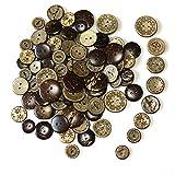 knowing 100 Stuck Holzknöpfe Kokosknöpfe,DIY Buttons für Nähen und Handwerk,Für Hemd-Baby-Strickjacken, Brown, 8 Stil (1)