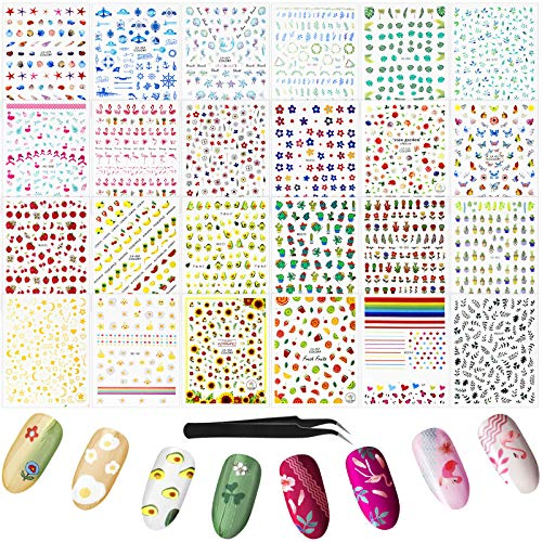 2000 Plus Pieces 24 Sheets Nail Art Stickers Decals 3D Self-Adhesive Spring Nail Decor DIY Flower Fruit Plant Flamingo Cactus Ocean Nail Decoration with Nail Tweezer for Nail Design Manicure Set