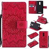 pinlu Flip Funda de Cuero para Xiaomi Redmi Note 3 / Note 3 Pro Carcasa con Función de Stent y Ranuras con Patrón de Girasol Cover (Rojo)
