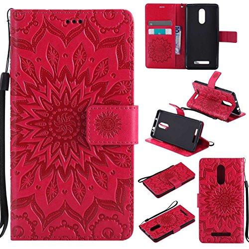 pinlu® Flip Funda de Cuero para Xiaomi Redmi Note 3 / Note 3 Pro Carcasa con Función de Stent y Ranuras con Patrón de Girasol Cover (Rojo)