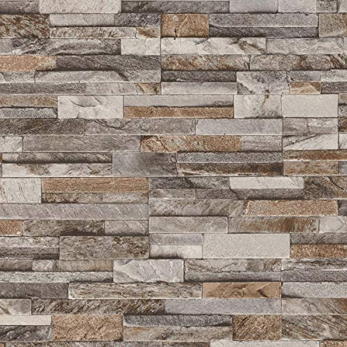 3D Brick Effect Wallpaper Slate Stone Wall Textured Brown Grey Paste Wall from YöL