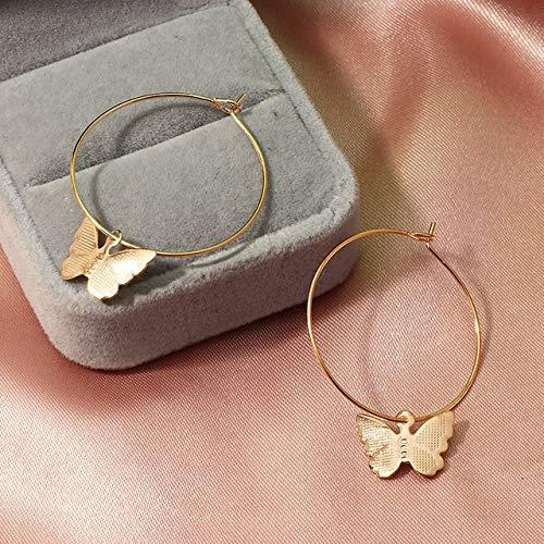 JIAHUI - Pendientes para mujer con diseño de animal boho y estético de cristal, joyería de resina (color metal: aro de oro circonita)