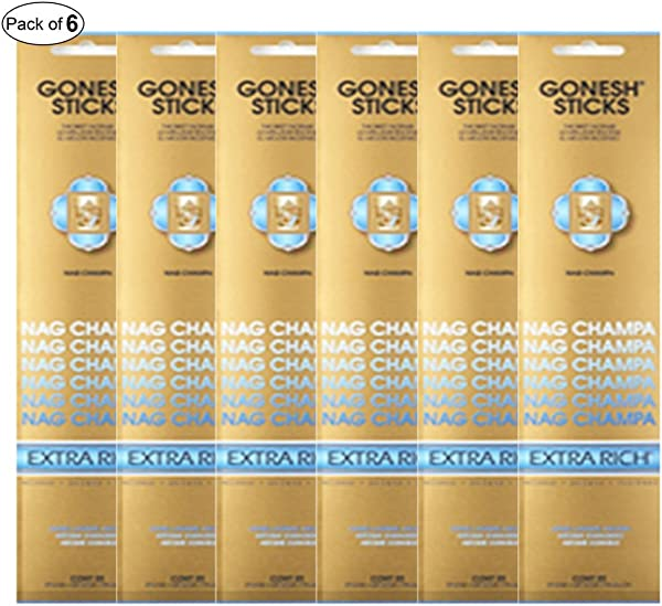 Gonesh Incense Extra Rich Nag Champa 20 Sticks In 1 Pack Pack Of 6