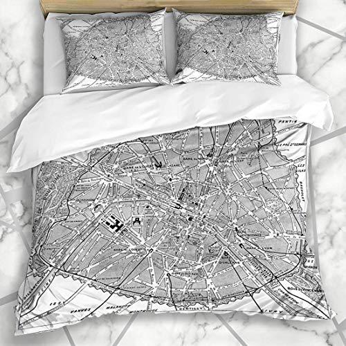 Guía de juegos de fundas nórdicas Mapa antiguo París Francia Grabado antiguo Interés Antiguo Negro Ciudad Blanco Diseño antiguo Tierra Ropa de cama de microfibra Tamaño doble con 2 fundas de almohada