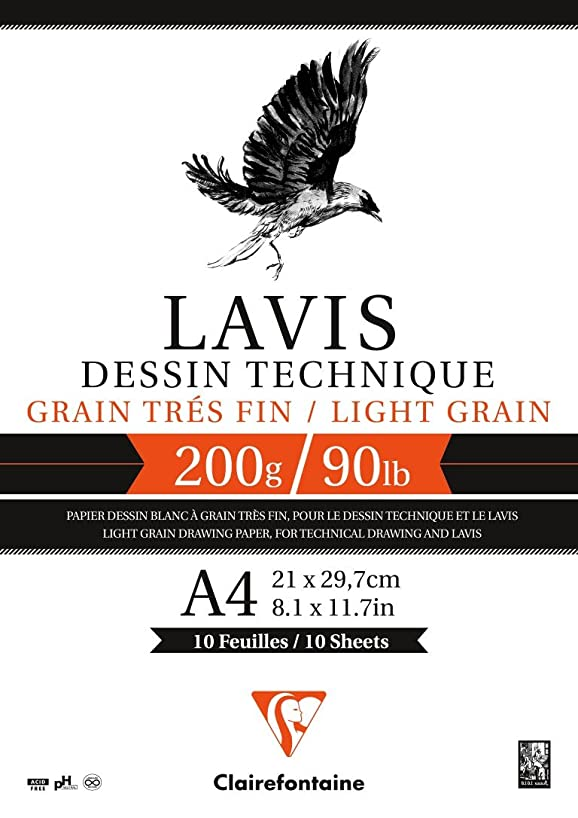 Clairefontaine Lavis Dessin Technique Drawing Pad, 200 g, A4, 10 Sheets