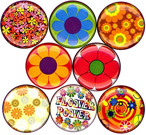 Flower Power 8 New 1' inch (25mm) Buttons pins Badges Hippie Summer of Love Psychedelic