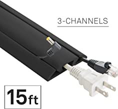 UT Wire 15-Feet Cord Protector with 3-Channels for Floor, 15ft, Black