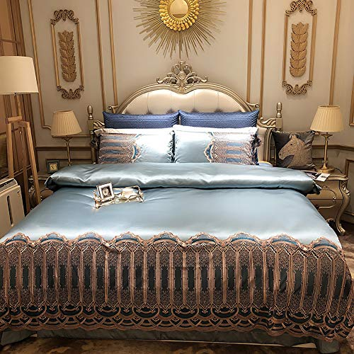 FGDSA Real Silk Four Paper Set High Archives Luxurious Solid Color 100% Mulberry Silk Real Silk Bedding Home Textile 4pcs Quilt Cover Sheet Pillow Case Queen King Size Duvet Sets Double