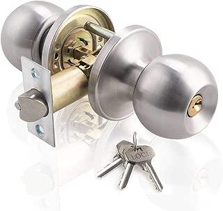 Ivoku Stainless Steel Ball Privacy Door Knob Satin Nickel,Interior Door Knobs with Lock and 3 Keys,Lock The Door with The Key,for Bedroom Bathroom Store Kids Room Storeroom (Sanding Silver)