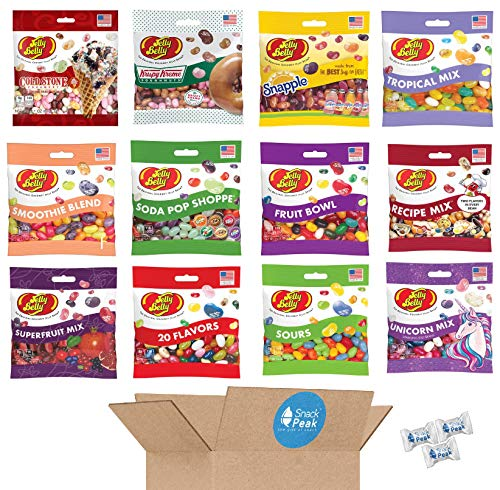 Jelly Belly Ultimate Variety Snack Peak Gift Box – Krispy Kreme, Snapple, Recipe Mix, Cold Stone, Soda Pop Shoppe, Smoothie Blend, Unicorn Mix, Fruit Bowl, Sours, 20 Flavors, Superfruit and Tropical