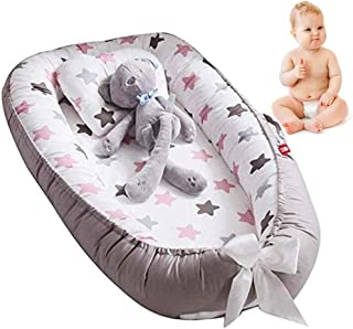Newborn Baby Lounger,Multifunctional Baby Nest, Portable Soft Breathable Baby 100% Cotton Swaddling Wrap for Newborn Babies Bionic Bed (C:Grey)