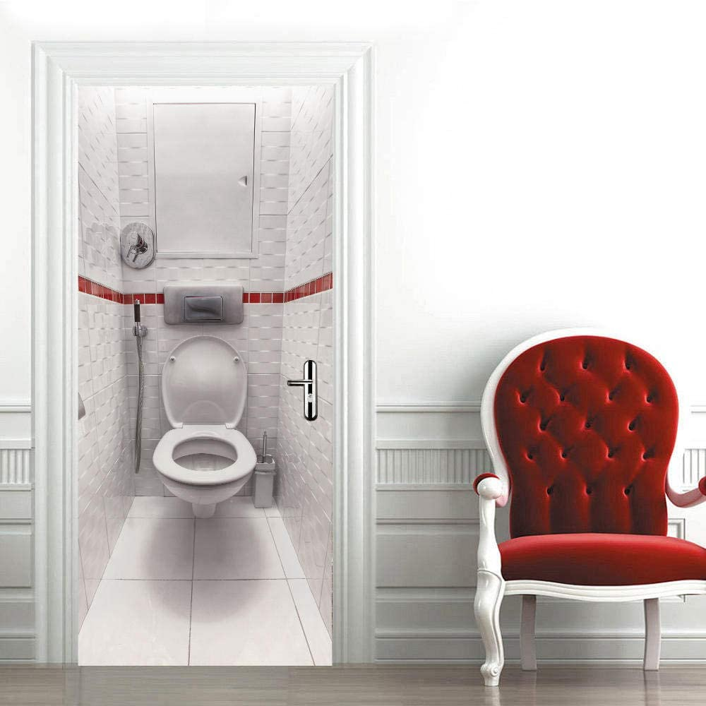 Max 46% OFF LIYIWLH 3D Door Gorgeous Stickers murals Toilet Pee 77x200cm White