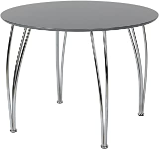 Novogratz Round Dining Table with Chrome Plated Legs, Gray