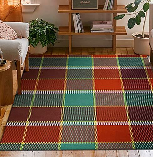 ZYUN Alfombra a cuadros antideslizante abstracta geométrica alfombra de piso para habitación de los niños, alfombra de interior y sala de estar, dormitorio, alfombra de área