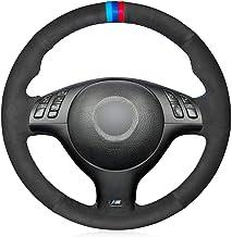 HCDSWSN Fundas para Volante de Coche,para BMW M Sport E46 330i 330Ci E39 540i 525i 530i M3 E46 M5 E39 Gamuza Negra Coser a Mano Cómoda Cubierta Suave del Volante