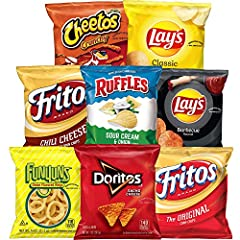 40 Single Serve favorites Lay's Classic Potato Chips, Crunchy Cheetos, Chili Cheese Fritos, Lay's BBQ Potato Chips, Original Funyuns, Doritos Nacho Cheese, Original Fritos, and Ruffles Cheddar & Sour Cream Chips With eight different varieties, there'...