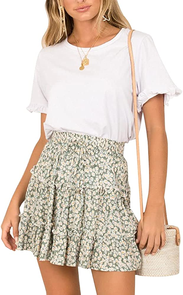 Sprifloral Women's Summer Cute High Waist Ruffle Skirt Floral Print Swing Beach Mini Skirt