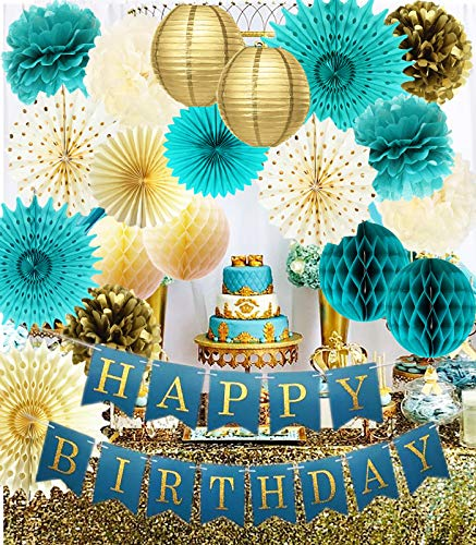 Teal Gold Birthday Decorations Gold Polka Dot Paper Fans Teal Gold Happy Birthday Banner for Women's 30th/40th/50th/60th/80th Birthday Party Decor