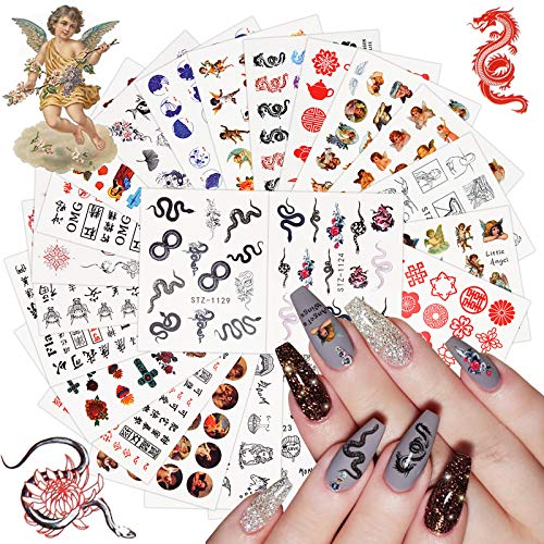 24 Sheet Dragon Snake Angel Nail Art Stickers Decals, Kalolary 3D Water Transfer Nail Stickers Decals Fashion Dragon Snake Cupid Angel Eros Chinese Character Nail Art Stickers Decals for Women Girls