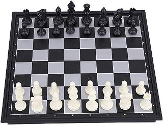 YINUODAY schackspel i trä, magnetiska schackpjäser Backgammon tre-i-ett-schackset med vikbart schackbräde för barn och vuxna