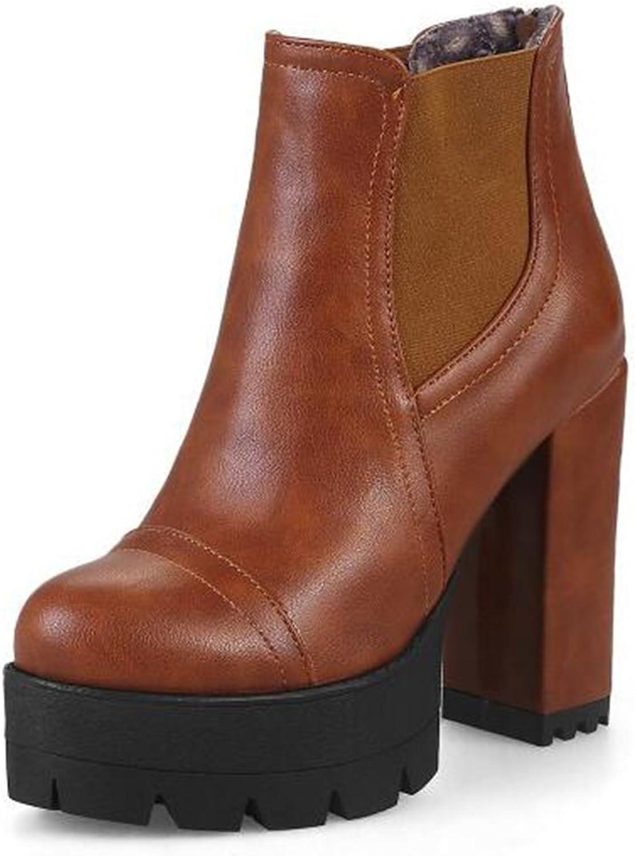IDIFU Women's Trendy High Chunky Heels Platform Ankle Boots Motor Booties with Zipper