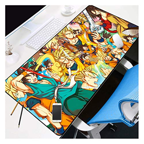 HOTPRO Mouse Mat Size XXL Large 900 x 400 mm,3D Anime Desk Pad,Long Stitched Edges Waterproof Non-Slip Rubber Base Mousepad Great for Laptop,Computer & PC Goku-1