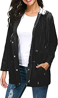 E-Scenery Women Plus Size Lightweight Coat Outdoor Waterproof Rain Jacket Hooded Raincoat Sportswear